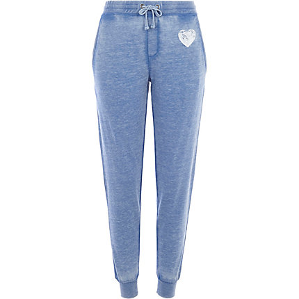 Blue burnout heart joggers