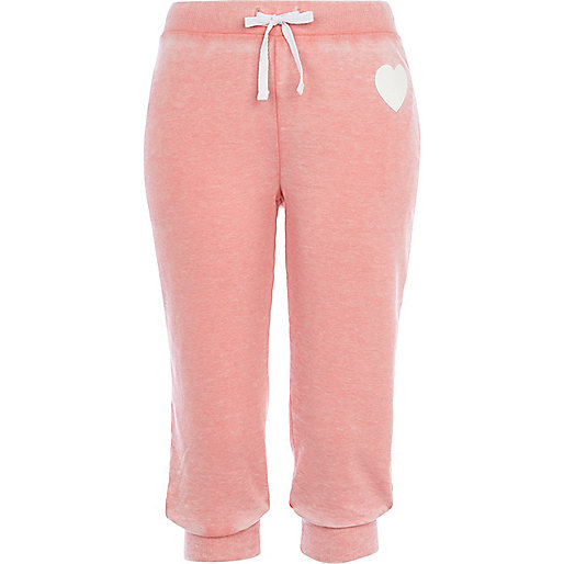 Coral burnout heart print cropped joggers