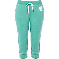 Green burnout heart print cropped joggers
