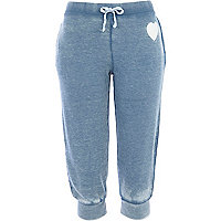Blue burnout heart print cropped joggers