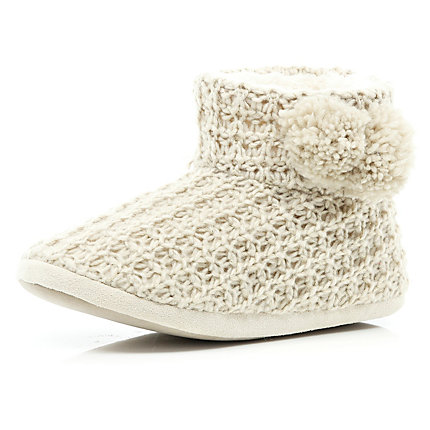 Beige chunky lurex knit slipper boots