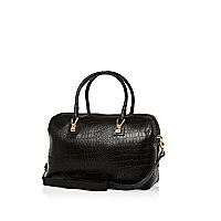 Black leather croc bowler bag