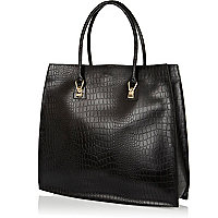 Black leather croc structured tote bag