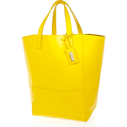 Yellow leather oversized tote bag
