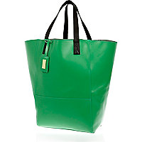Green leather oversized tote bag