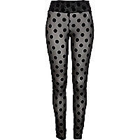 Black mesh polka dot high waisted leggings