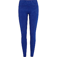 Blue embossed pattern high waisted leggings