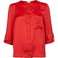 Red collarless roll sleeve shirt
