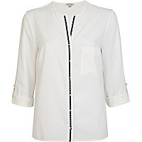 White contrast placket roll sleeve shirt