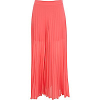 Bright pink sheer pleated maxi skirt