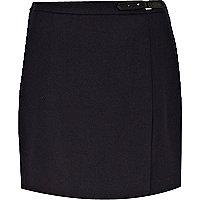 Navy flannel wrap mini skirt