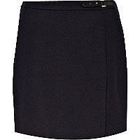 Navy flannel wrap mini skirt