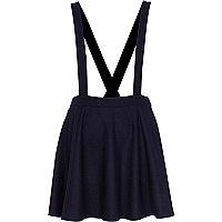 Navy flannel dungaree skater skirt