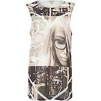White guitar girl front print tank top