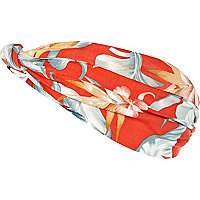 Red floral print stretch headband