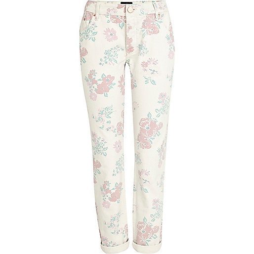 Light pink floral Lexie slim boyfriend jeans