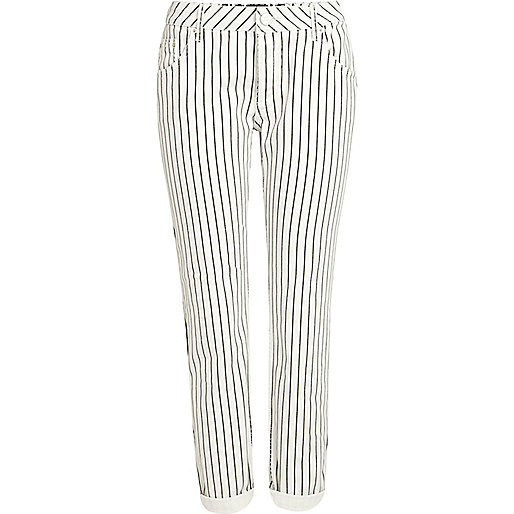 White stripe Lexie slim boyfriend jeans