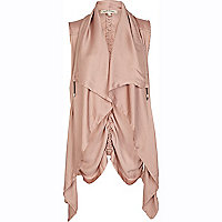 Pink lightweight waterfall gilet
