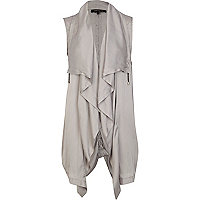 Silver lightweight waterfall gilet