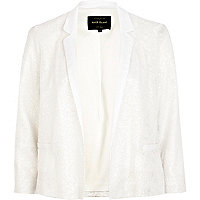 White sequin embellished cropped blazer