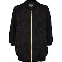 Black 3D embroidered bomber jacket