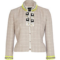 Beige boucle jewelled fluro trim jacket
