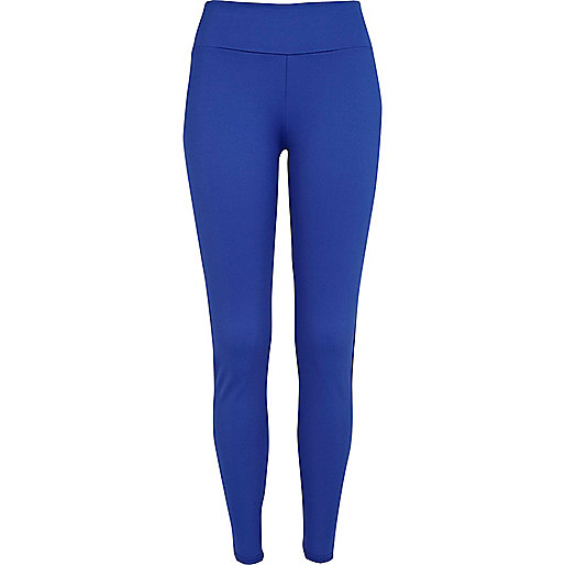 Bright blue and black colour block leggings
