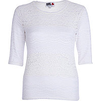 White Chelsea Girl lace 3/4 sleeve top