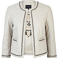 White leather-look chain jacket