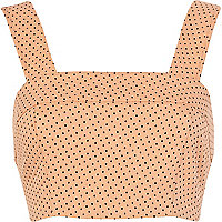Orange polka dot crop top