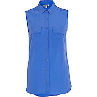 Bright blue patch pocket sleeveless shirt