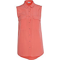 Coral patch pocket sleeveless shirt