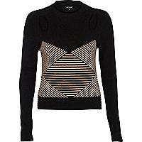 Black geometric pattern cut out crop jumper