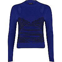 Blue geometric pattern cut out crop jumper