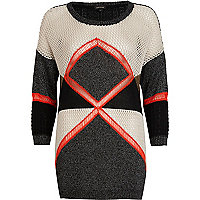 Black colour block geometric jumper