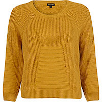 Mustard geometric pattern cropped jumper