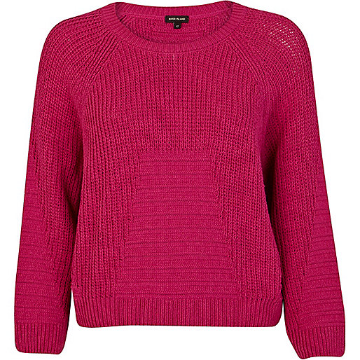 Pink rib geometric pattern cropped jumper