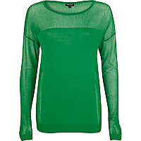 Green mesh insert long sleeve top