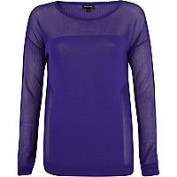 Purple long sleeve mesh top