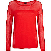 Red long sleeve mesh top