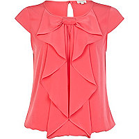 Pink bubble hem bow blouse