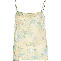 Cream floral print cami top