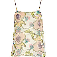 Cream scarf print cami top