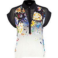 Black floral print colour block boxy shirt