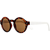 Brown tortoise shell colour block sunglasses