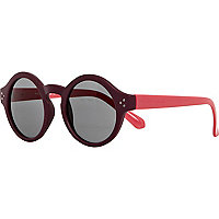 Dark red colour block round sunglasses