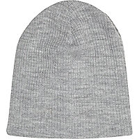 Grey ribbed beanie hat