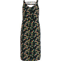 Black floral print button through slip dress