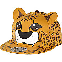 Orange cheetah print ear trucker hat