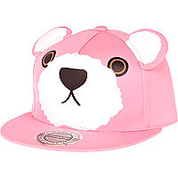 Pink bear print ear trucker hat